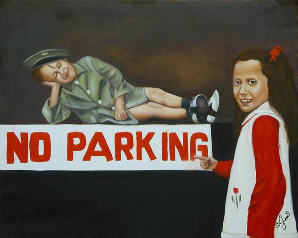 Child Poster featuring the painting No Parking by Joni McPherson