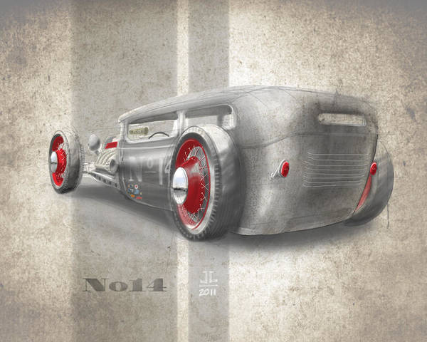 Hot Rod Poster featuring the drawing No.14 by Jeremy Lacy