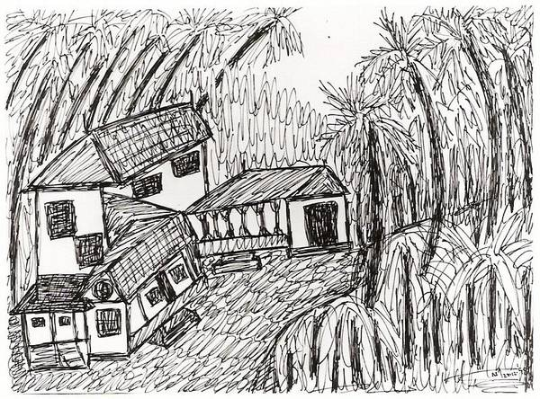 Kerala House Landscape Poster featuring the drawing No.187 by Vijayan Kannampilly