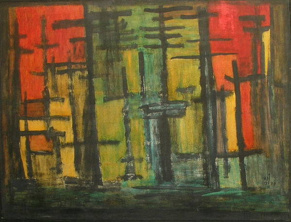 Abstract Landscape Forest Poster featuring the painting No.271 by Vijayan Kannampilly