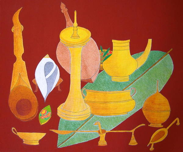 Utensils For Rituals; Still Life Poster featuring the painting No.332 by Vijayan Kannampilly