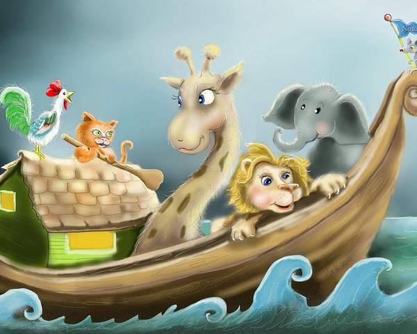 Noah's Ark Illustration Poster featuring the digital art Noah's Ark by Hank Nunes