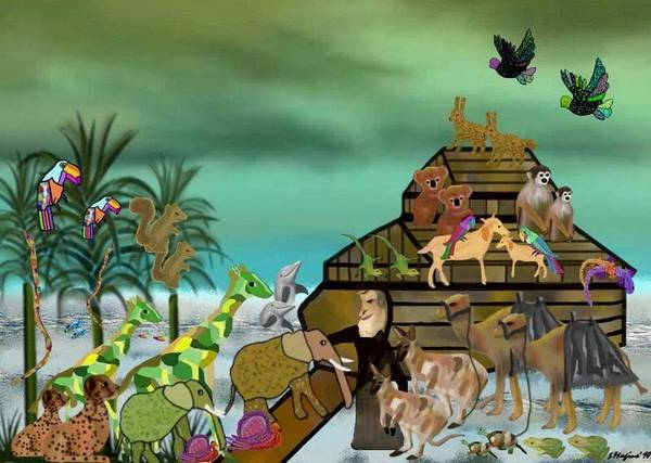 Noah Noah's Ark Bible Biblical Animals Animal Water Ocean Sea Storm Clouds Trees Nature Landscape Judaica Illustration Boat Flood Wood Poster featuring the painting Noah's Ark by Sher Magins