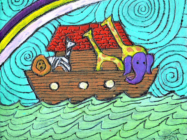 Children's Poster featuring the painting Noahs Ark Two by Wayne Potrafka