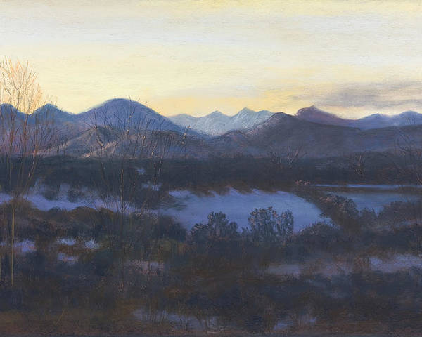 Landscape Of Co Mountains Poster featuring the painting Nocturne On The Front Range Of Colorado by Diane Edwards