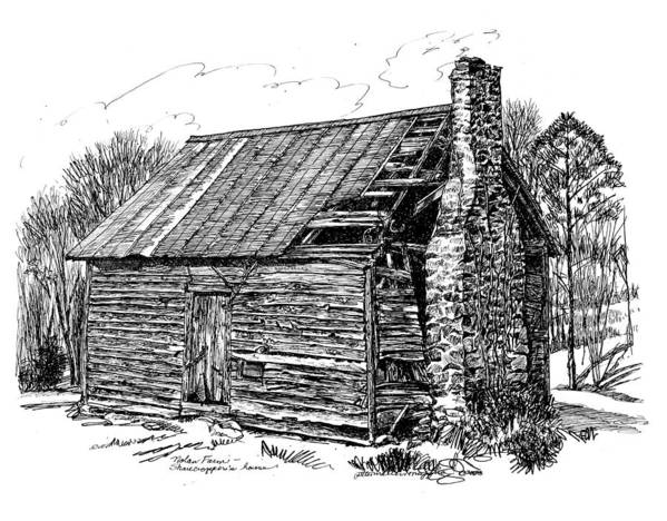 Landscape Poster featuring the drawing Nolan Corners Sharecropper's Shack by Peter Muzyka