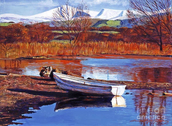 Boats Poster featuring the painting North England Lake by David Lloyd Glover