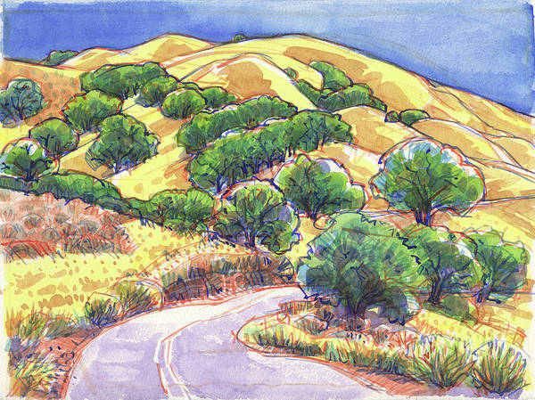 Landscape Poster featuring the painting North Gate Road, Mount Diablo by Judith Kunzle