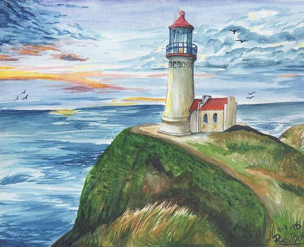 Lighthouse Poster featuring the painting North Head Lighthouse by Rachel Lucas-Bertsch