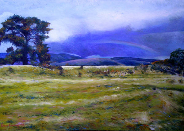 Tasmanian Landscapes Poster featuring the painting Northeast Tasmania Australia 1995 by Enver Larney