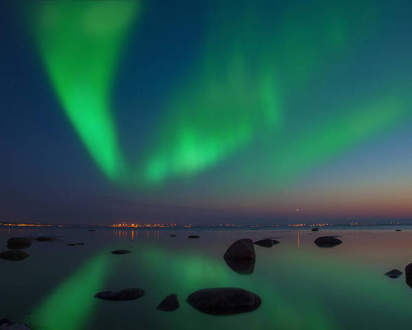 Astronomy Poster featuring the photograph Northern Lights Aurora Borealis In Northern Europe by Sandra Rugina
