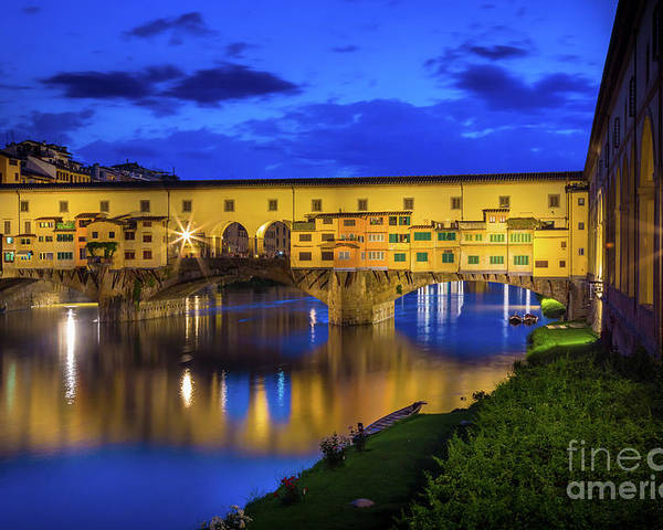 Arno Poster featuring the photograph Notte A Ponte Vecchio by Inge Johnsson