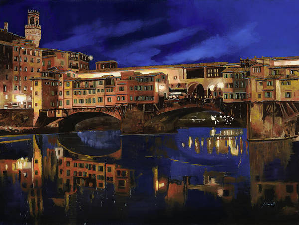 Firenze Poster featuring the painting Notturno Fiorentino by Guido Borelli