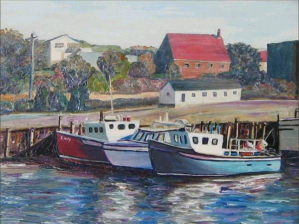 Nova Scotia Poster featuring the painting Nova Scotia Boats by Richard Nowak