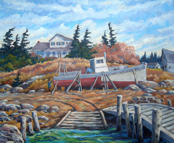 Boat Poster featuring the painting Novia Scotia by Richard T Pranke