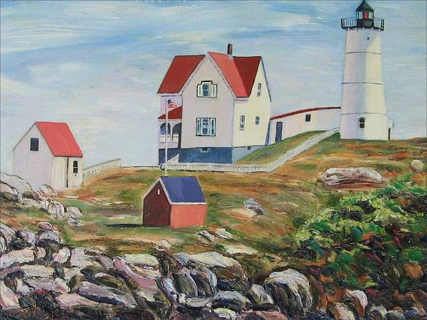 Nubble Light House Poster featuring the painting Nubble Light House Maine by Richard Nowak