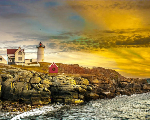 Nubble Lighthouse Poster featuring the photograph Nubble Lighthouse At Sunset by Ken Marsh