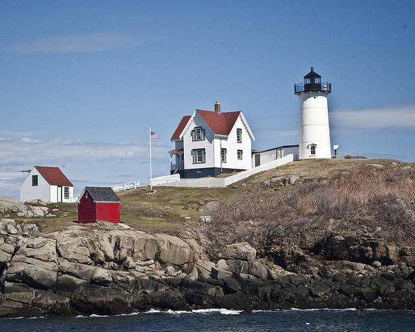 Nubble Poster featuring the photograph Nubble Lighthouse by Thomas Jarvais