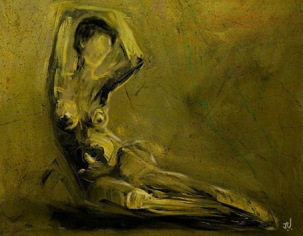 Nude Poster featuring the painting Nude 10jan2016 by Jim Vance