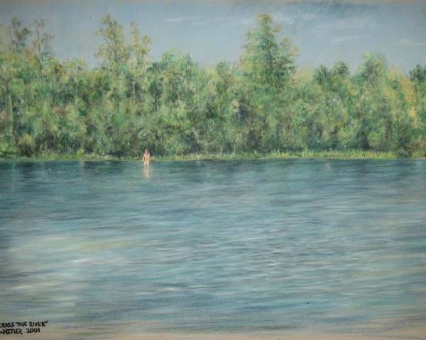 Nude Poster featuring the pastel Nude Across The River by Larry Whitler