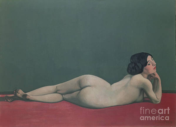 Nude Poster featuring the painting Nude Stretched Out On A Piece Of Cloth by Felix Edouard Vallotton