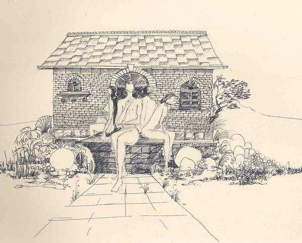 Nudes Poster featuring the drawing Nudes Some Rocks And A Cottage by Padamvir Singh