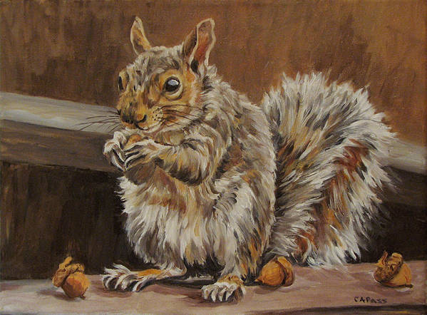 Wildlife Poster featuring the painting Nutkin by Cheryl Pass