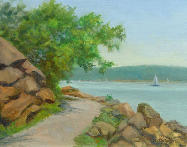Oil Landscape Poster featuring the painting Nyack Trail Along The Hudson by Phyllis Tarlow