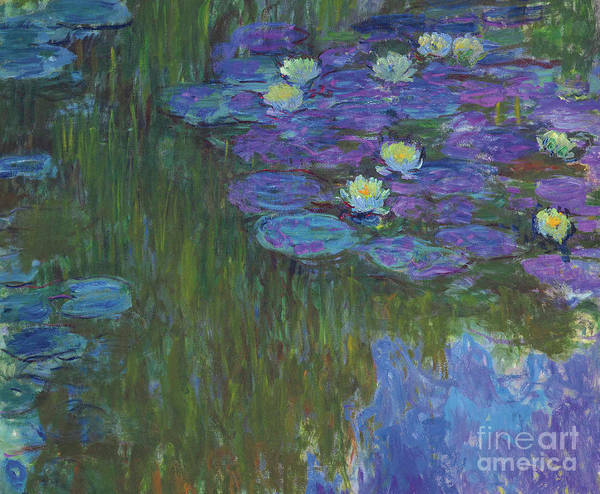 Claude Monet Poster featuring the painting Nympheas En Fleur, 1914 To 1917 by Claude Monet
