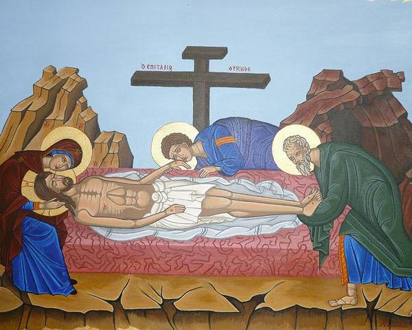Marinella Owens Poster featuring the painting O Epitafos Jesus by Marinella Owens
