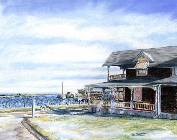 Oak Bluffs Poster featuring the pastel Oak Bluffs Winter by Paul Gardner