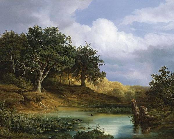 Nature Poster featuring the painting Oaks Beside The Water 1832 By Christian E. B. Morgenstern by Christian E B Morgenstern