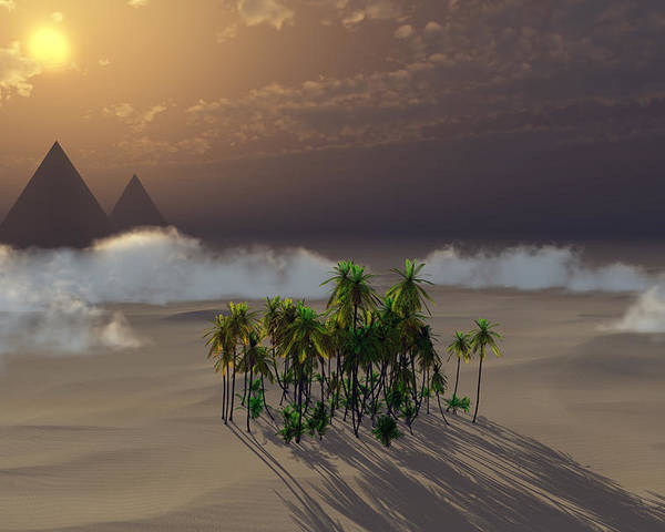 Deserts Poster featuring the digital art Oasis by Richard Rizzo