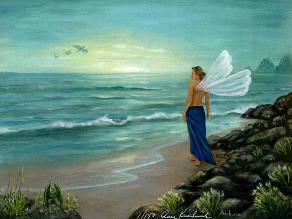 Fairy Poster featuring the painting Ocean Fairy by Anne Kushnick