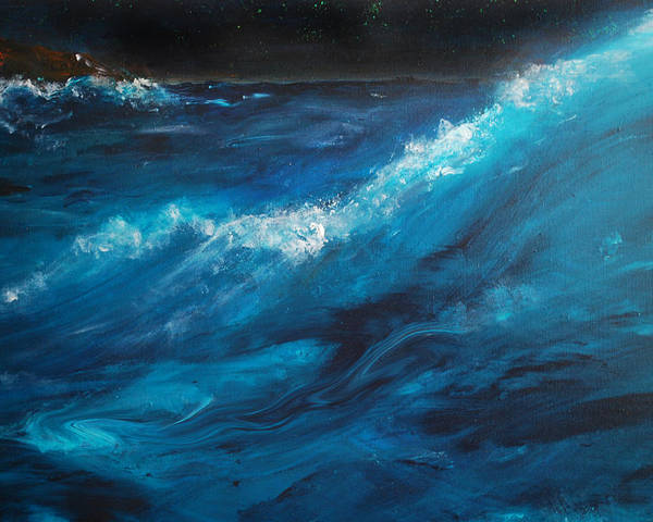 Crashing Waves Poster featuring the painting Ocean II by Patricia Motley