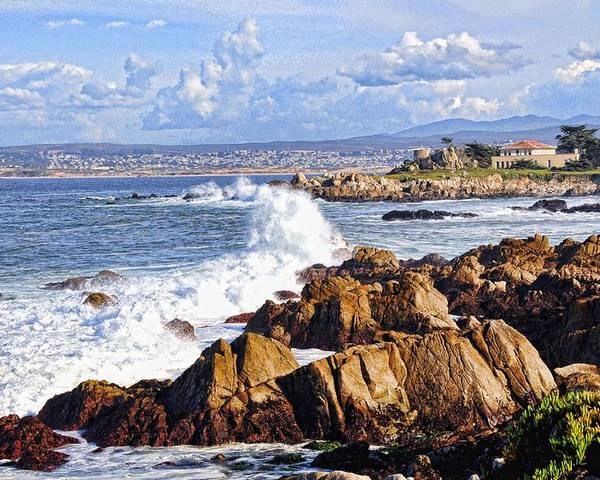 Ocean Poster featuring the photograph Ocean Spray In Monterey by Lorrie Morrison