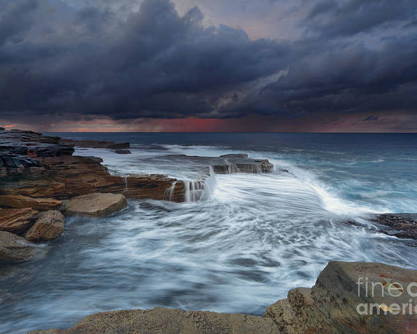 Weather Poster featuring the photograph Ocean Stormfront Maroubra by Leah-Anne Thompson