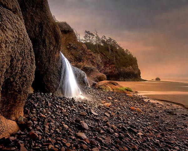 Coastal Poster featuring the photograph Ocean Waterfall by Karen Hunnicutt-Meyer