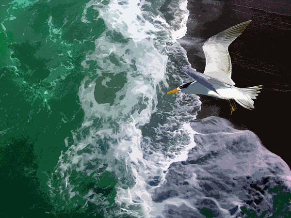 Ocean Waves Poster featuring the photograph Ocean Waves - four by John Lautermilch