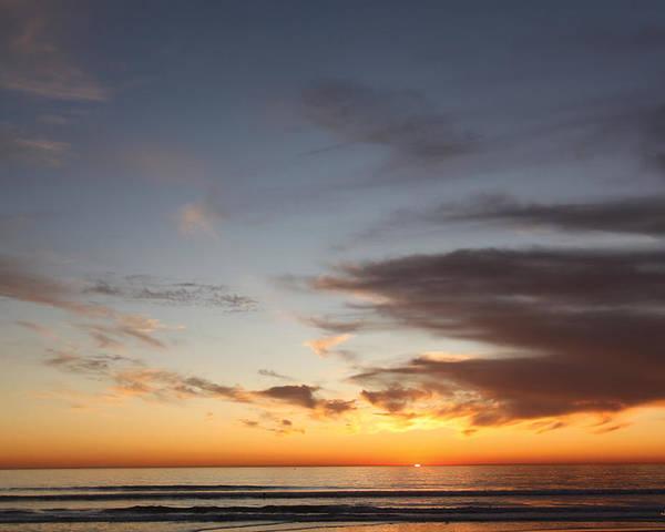 Beach Poster featuring the digital art Oceanside Sunset by Justin Hiatt
