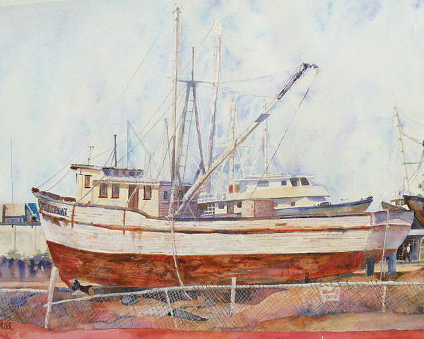 Boat Poster featuring the painting Oceansport by Wendy Hill