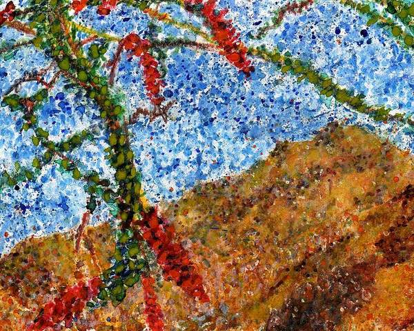 Watercolor Poster featuring the painting Ocotillo In Bloom by Cynthia Ann Swan