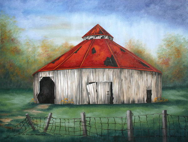 Barn Poster featuring the painting Octagen Barn by Ruth Bares