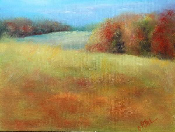 Fall Season Poster featuring the painting October Grazing Fields by Donna Pierce-Clark