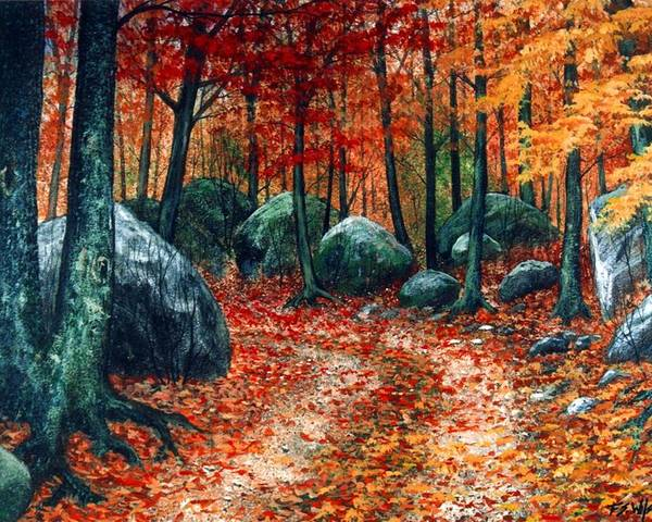 Landscape Poster featuring the painting October Woodland by Frank Wilson