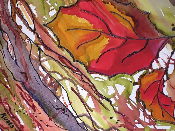 Leaf Poster featuring the mixed media OctoberSecond by Susan Kubes