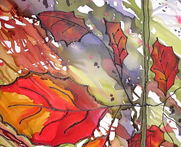 Leaf Poster featuring the mixed media Octoberthird by Susan Kubes