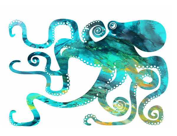 Octopus Watercolor Print Poster featuring the painting Octopus 2 by Donny Art