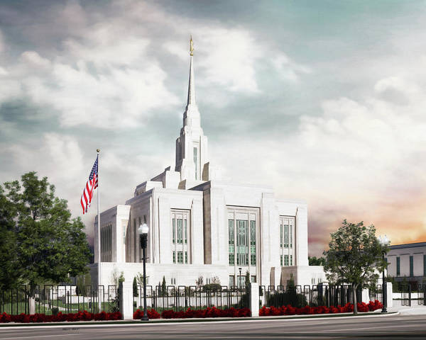 Ogden Poster featuring the painting Ogden LDS Temple by Brent Borup
