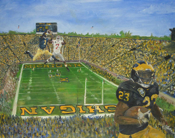 Michigan Poster featuring the painting Ohio State Vs. Michigan 100th Game by Travis Day